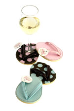Pink and Blue Truffles Flip Flop Wine Glass Coaster Set of 4