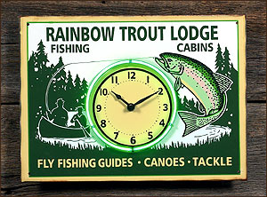 Rainbow Trout Lodge Neon Sign - Clock