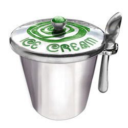 Aluminum Ice Cream Pint Holder Green