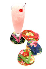 Hibiscus Hula Flip Flop Wine Glass Coaster Set of 4-Discontinued
