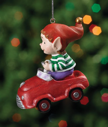 Riding in Car Jingle Elves Ornament