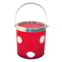 Art Glass Red Polka Dots Ice Bucket