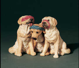 See No, Hear No... Labs Stone Critters Figurine