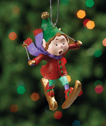 Skiing Jingle Elves Ornament