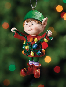 Untangling Lights Jingle Elves Ornament