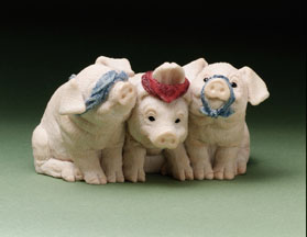 See No, Hear No... Piglets Stone Critters Figurine