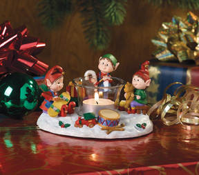 Elves Making Toys Jingle Elves Tealight Holder-Retired