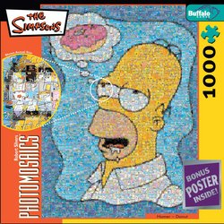Homer Daydreaming about a Donut The Simpsons - 1000 Piece Photomosaic Jigsaw Puzzle