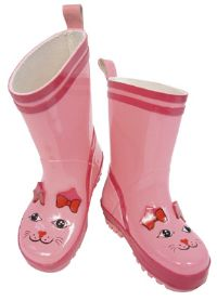 Fun Kidorable Pink Cat Rain Boots