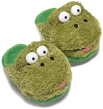 Dezi AniMules Fuzzy Green Frog Slippers - Toddler and Adult Size