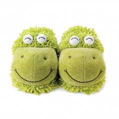 Fuzzy Friends Green Frog Fuzzy Slippers - Adult Size
