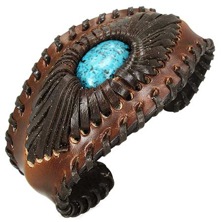 Trendy Celeb Bend-to-Fit Leather Cuff - Turquoise  (OUT OF STOCK)