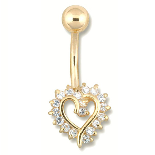 14K Outlined Heart Gold Belly Rings (OUT OF STOCK)