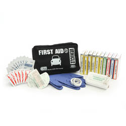 Vehicle First Aid Kit  Black Nylon Bag