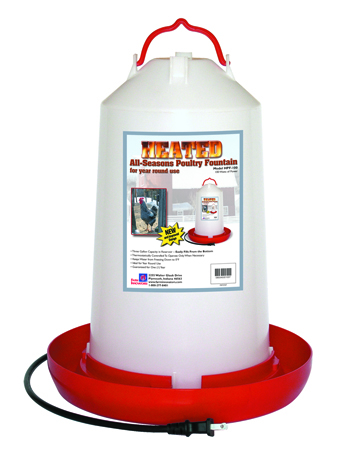 3 Gallon - Plastic Heated Poultry Waterer