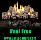 "Valley Oak 24"" Vent Free Complete Log set w/ G8 Burner Manual Light"
