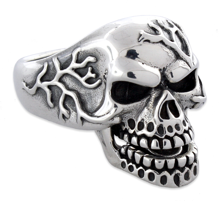Sterling Silver Vein Skull Ring w/ Moveable Jaw