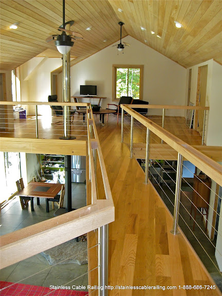 <strong>Interior Stainless Steel Posts with Wood Top Rail Cable Railing System </strong>