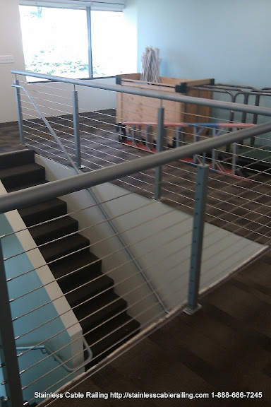 <strong>Welded Handrail with a Cable Railing Systems California