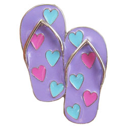 Flip Flops with Hearts Finders Key Purse Key Finder