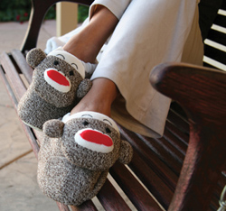 Sock Monkey Adult Plush Slippers