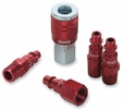 "Legacy A73456D  5 Piece ColorConnex Red Type D Industrial 1/4"" Body x 1/4"" Quick Disconnect Coupler and Plug Kit (C20,CP20,CP21)"
