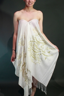 Shawl White & Gold