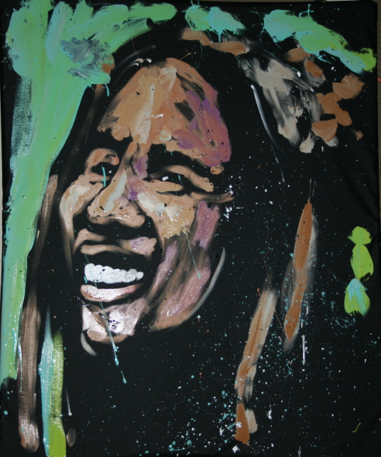 Bob Marley Original painted by David Garibaldi Live at Spoiled Rotten Boutique and Gallery