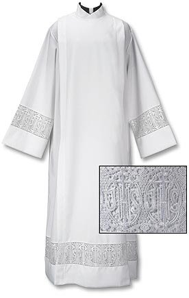 "Lace Front Wrap Alb ++++++++++++++++++ ""Latin Cross and IHS"" ++++++++++++++++++ Discount Price: $89 ++++++++++++++++++ Item# TS595"