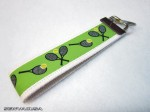Tennis Keychain Key Fob Green On White Wristlet