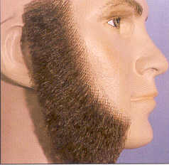 BMG130 <br>Fake Sideburns <br>Muttonchops <br>100% Human Hair <br>Glue On