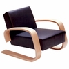 Artek Alvar Aalto - Lounge Chair 400 - Black Leather Upholstery