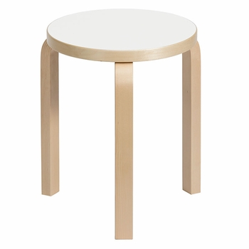 Artek Alvar Aalto Stool 60 - Three-Legged - White Laminate - Click to enlarge