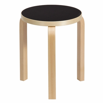 Artek Alvar Aalto Stool 60 - Three-Legged - Black Linoleum - Click to enlarge