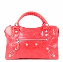 Balenciaga Giant City Handbag - Red with Silver