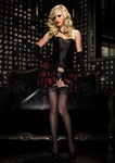 Leg Avenue Lace Trimmed Striped Satin Bustle Skirt