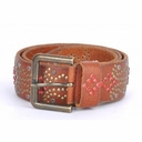 Dolce & Gabbana Rhinestone Studs Leather Belt Brown