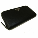 Prada Ziparound Leather Wallet M506 - Black