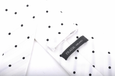 Prada Polka Dot Silk Tie - White