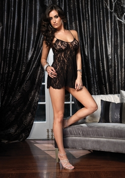 Leg Avenue 2 Piece Rose Lace Flared Chemise with Matching G-string