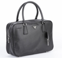 Prada Saffiano Leather Doctor Bag BL0094 - Black with Silver