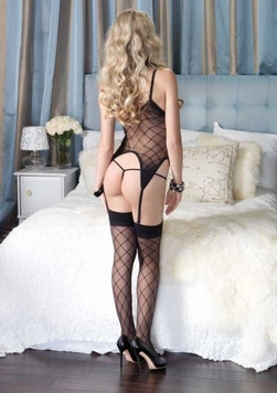 Leg Avenue 3 Piece Fence Net Sheer Cami Garter, G-string and Matching Stockings