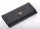 Prada Saffiano Leather Wallet 1M1132 - Black with Colored Interior