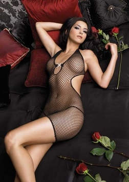 Leg Avenue 2 Piece Industrial Net Halter Mini Dress with Pave Faux Rhinestone Accent