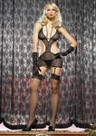 Leg Avenue 2 Piece Strappy Fishnet Garter Dress with Side Cut Outs and Matching G-string