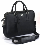Prada Saffiano Leather Briefcase VA0791- Black