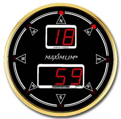 "Maximum Summit Wind Speed & Direction Instrument  Measures In Mph, Knots, Km/h, M/s Or Beaufort With Outside Temperature - 21"" Case"