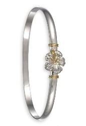 Sterling Silver and 14K Gold <b>(4mm 6.5 inch)</b> Hibiscus Hook Two Tone Bracelet - TT4HIB65