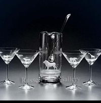 MARTINI PITCHER AND GLASSES