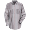 SP50GR  Long Sleeve Gray/Charcoal/Burg.  Striped Dress Uniform Shirt - Discontinued